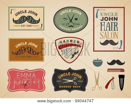 Vintage color tone barber shop logo