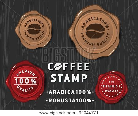 Coffee badge banner design with sealing wax and text premium quality