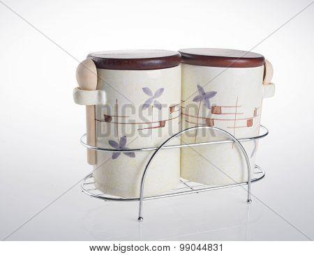 Tea Coffee And Sugar Cannisters Isolated Against On White Background