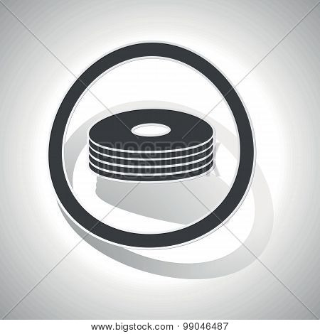Curved CD stack sign icon