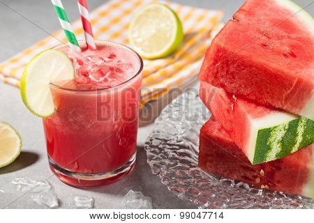 Glass Of Watermelon Juice With Ice And Watermelon