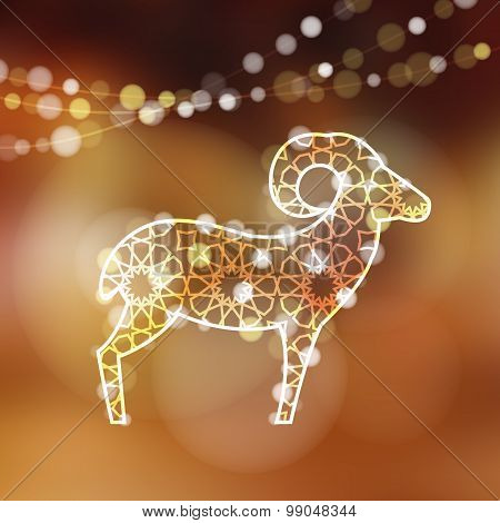 Greeting Card With Silhouette Of Ornamental Sheep, Vector