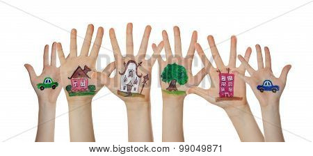Houses, car and trees painted on children hands. Hands raised up