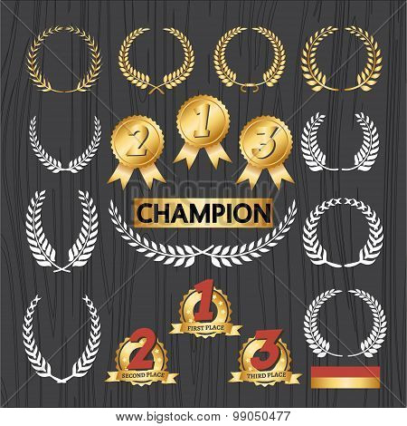 Laurel wreath Decorative elements and award badge set