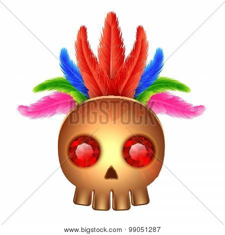Golden Skull Icon With Gems And Feathers