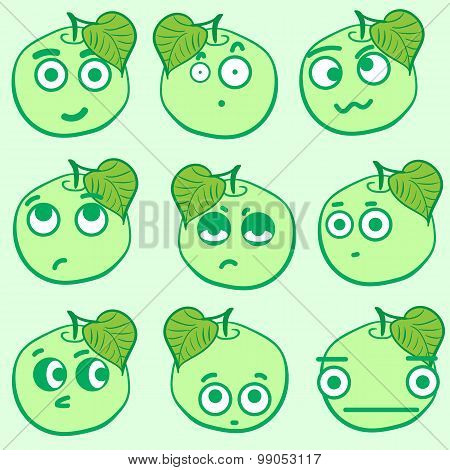 Clipart emotional apples