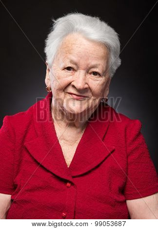 Portrait Of Beautiful Smiling Old Woman
