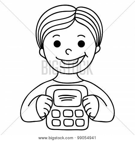 Smiling Boy With Calculator