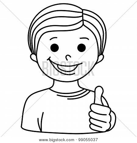 Cartoon Smiling Boy Showing Thumb Up