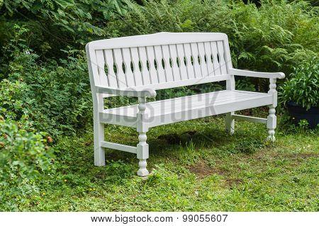 White Retro Style Wooden Bench In Garden
