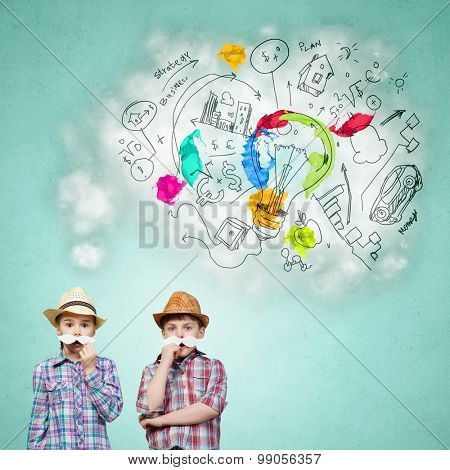 Cute girl and boy wearing shirt hat and mustache