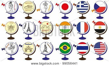 Flag And Attractions In World Globe