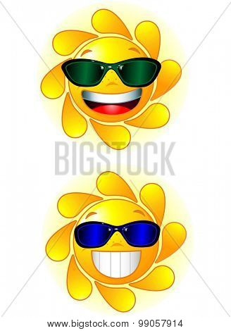 Two happy and shiny Sun with sunglasses