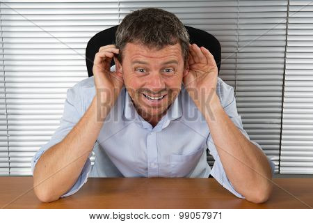 Bright Picture Of Happy Man Listening Gossip