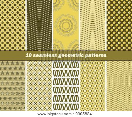 10 Seamless Geometric Patterns In Olive Green And Yellow Colors