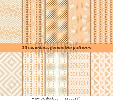 10 Seamless Geometric Patterns In Warm Autumn Colors