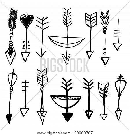 Hand Drawn Doodle Vector Arrows Set