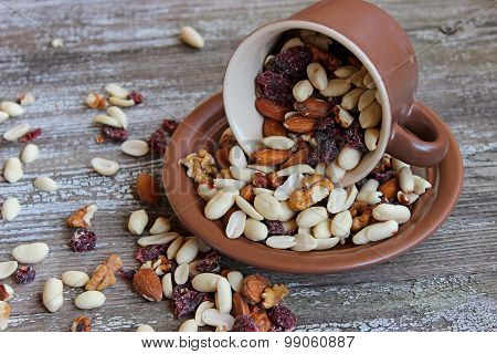 Mix Of Dried Cranberries And Different Nuts