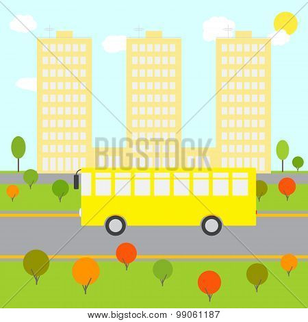 City Landscape With Yellow Bus