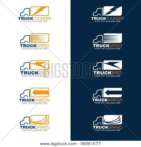 Blue and Orange Truck shipping logo vector
