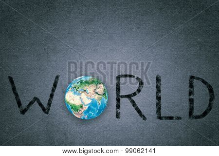 Word world with Earth planet instead of letter O. Elements of this image are furnished by NASA