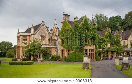 England, Castle Combe, unique old English village. Old house and park