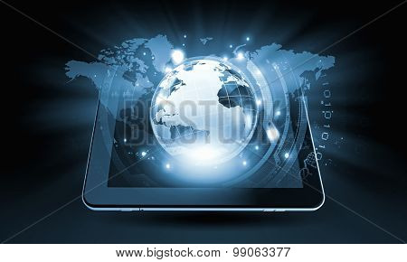 Cloud computing concept with tablet pc and application icons