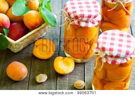 Homemade preserved apricot jars
