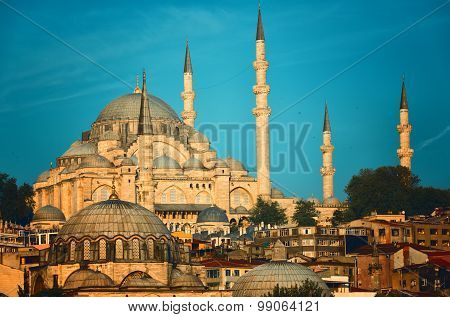 Suleymaniye Mosque Lit With The Sun On A Sunset Istanbul, Turkey