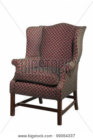 Large Wing Chair Upholstered In Red Old Antique Isolated