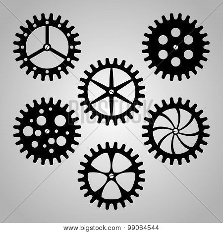 Set Of Cogwheels, Pinions And Gears.