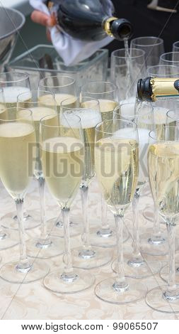 Sparkling Champagne In Glass Glasses