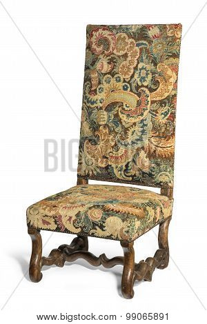 Antique Early Tapestry Covered High Backed Chair On White Background