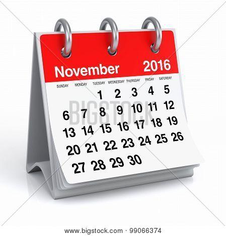 November 2016 - Desktop Spiral Calendar