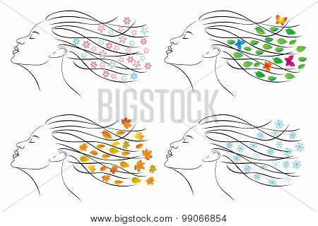 Four Seasons - Spring, Summer, Autumn, Winter. Female Head For Design