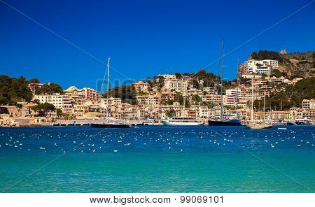 Yachts And Houses In The Harbour Of Port De Soller