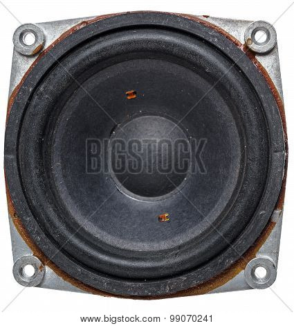 Old Acoustic Speaker, Isolated On A White Background