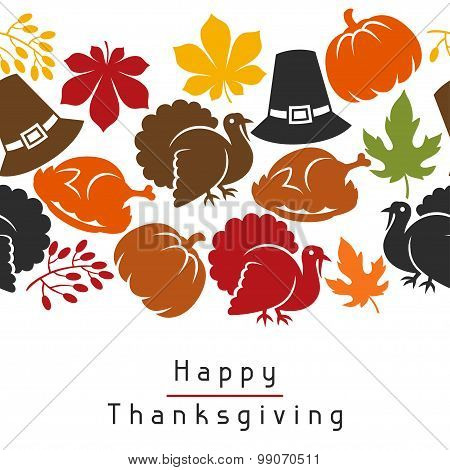 Happy Thanksgiving Day seamless pattern with holiday objects