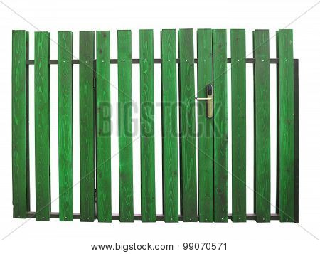 Old Green Wooden Gate With Lock Isolated Over White