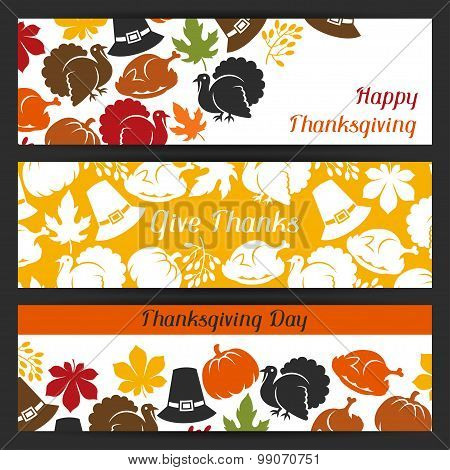 Happy Thanksgiving Day banners design with holiday objects