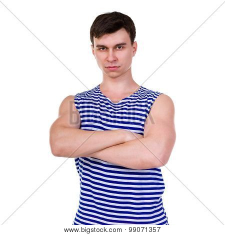 Young man in a striped vest T-shirt