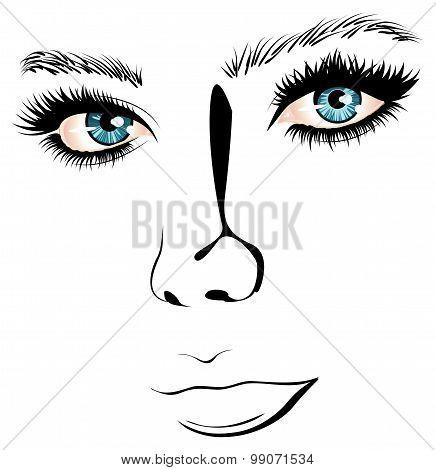 Lineart Girl Face