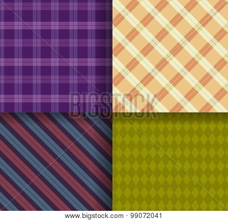 Retro different vector  patterns with swatch
