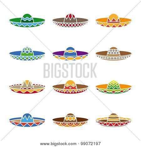Mexican sombrero color flat icons set