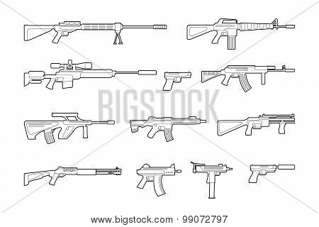 Vector machine guns and pistols line icons set
