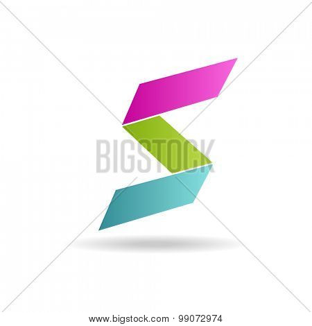 S letter bright colors  logo. Vector Illustration, easy editable. Letter s pink, blue and green colors logo on white background