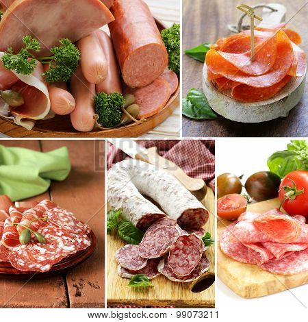 collage of assortment of sausage and smoked bacon