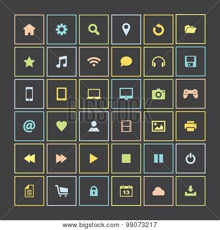 Set of colorful icons, flat design