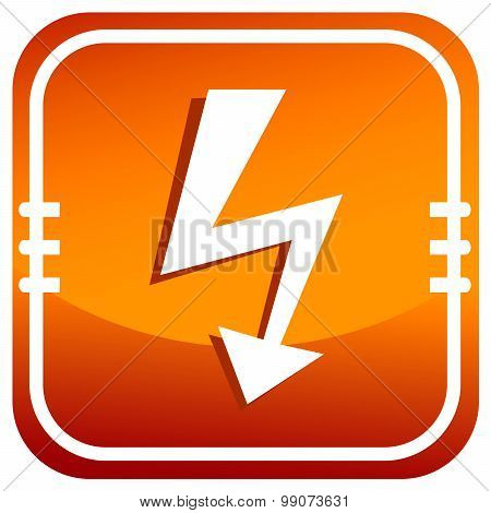 Vector Orange Lightning Icon.