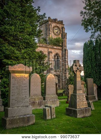 Lennoxtown Church Graveyard at sunset
